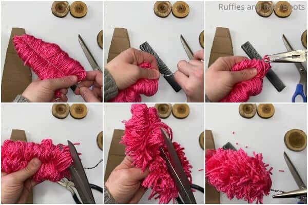 photo collage tutorial of how to make tiny trees with yarn