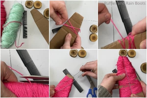 photo collage tutorial of how to make christmas trees with yarn