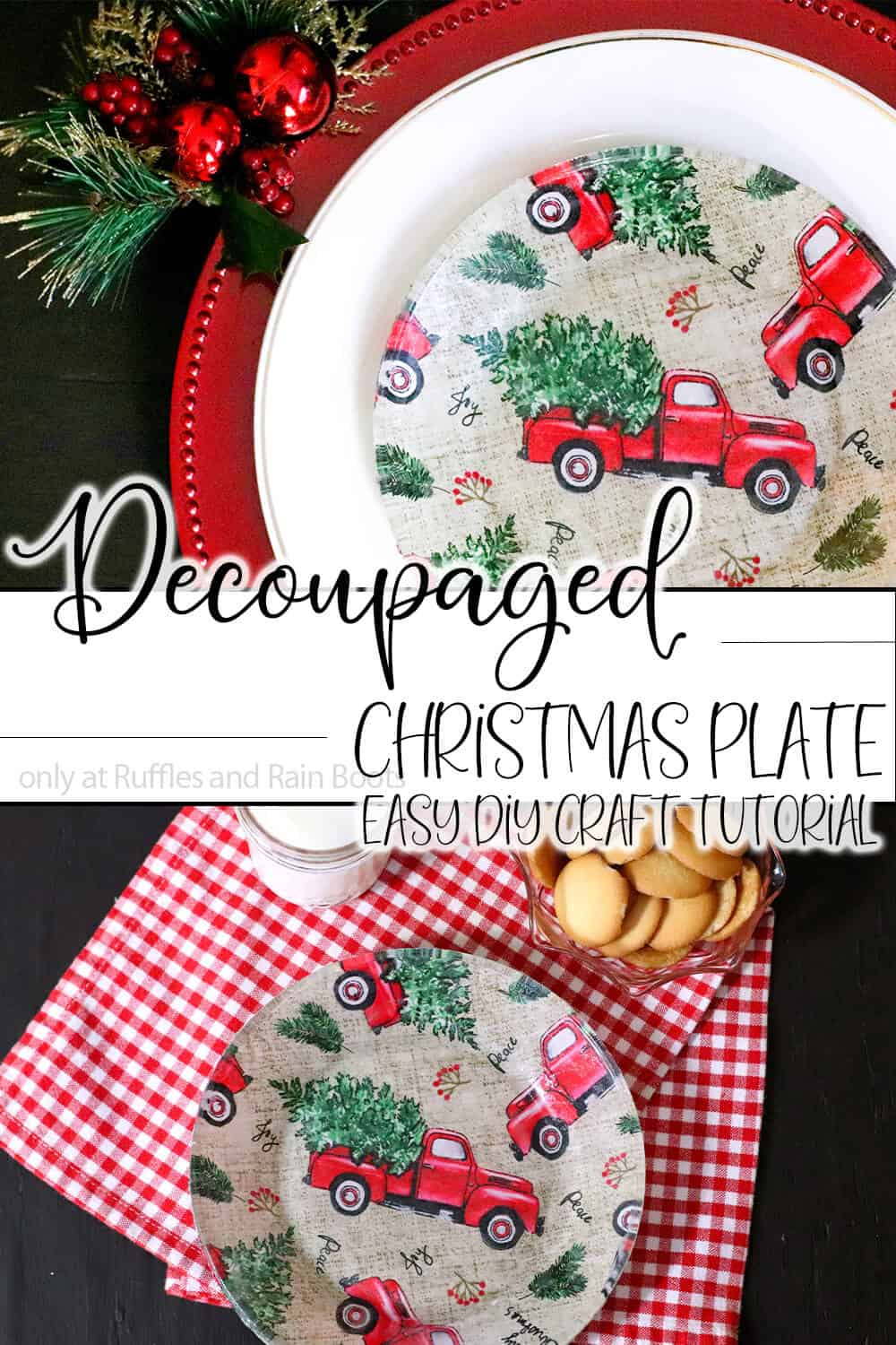 photo collage of christmas diy project with text which reads decoupaged christmas plate easy diy craft tutorial
