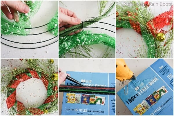 photo collage tutorial of how to make a grinch wreath for christmas 2