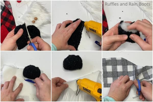 photo collage tutorial of how to make a sock gnome for christmas for the christmas tree
