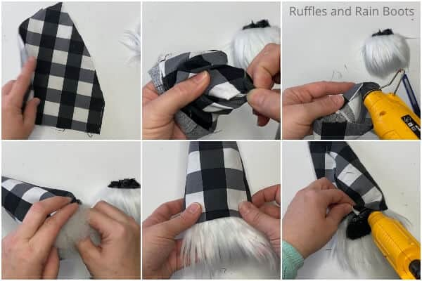 photo collage tutorial of how to make a gnome sock ornament for christmas for the christmas tree