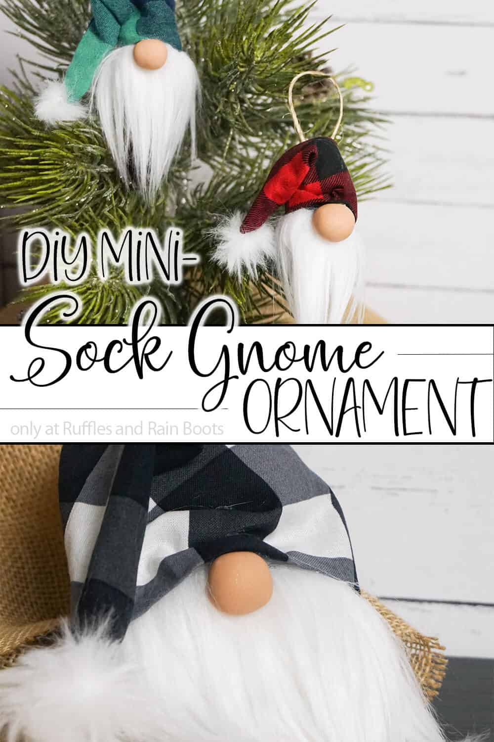 photo collage of christmas ornament gnome with text which reads diy mini sock gnome ornament
