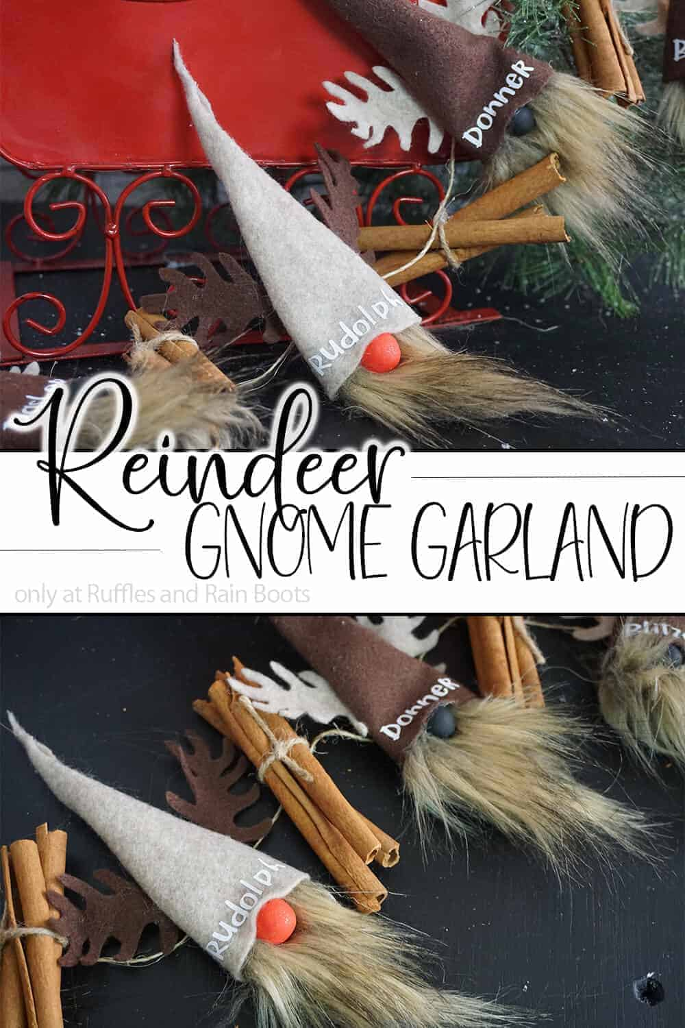 photo collage of holiday garland diy project with text which reads reindeer gnome garland