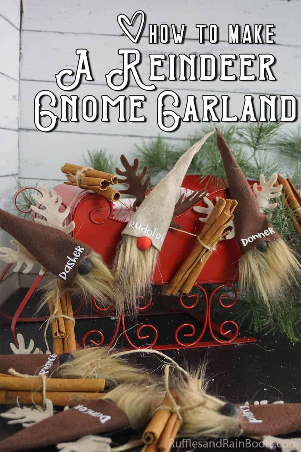 easy diy gnome craft idea with text which reads how to make a reindeer gnome garland