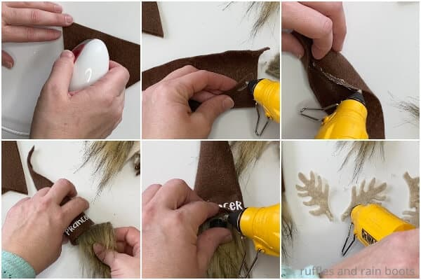 photo collage tutorial of how to make a reindeer christmas garland