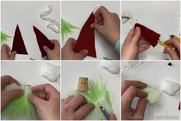 photo collage tutorial of how to make a christmas tree ornament for the grinch movie