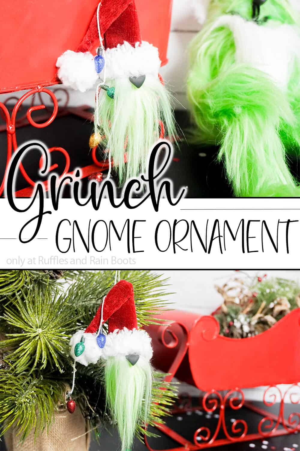 photo collage of grinch who stole christmas ornament with text which reads grinch gnome ornament