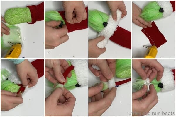 photo collage tutorial of how to make a grinch gnome with a twisty hat