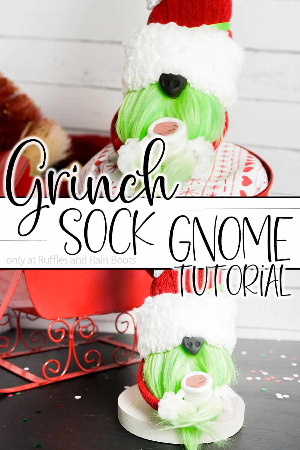 photo collage of tomte tutorial with text which reads grinch sock gnome tutorial