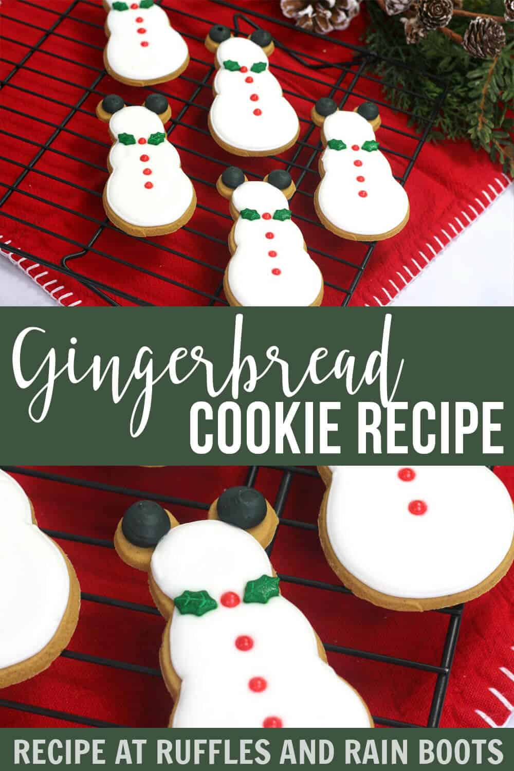photo collage of mickey mouse snowman cookies with text which reads Easy Roll Out Gingerbread Cookie Recipe