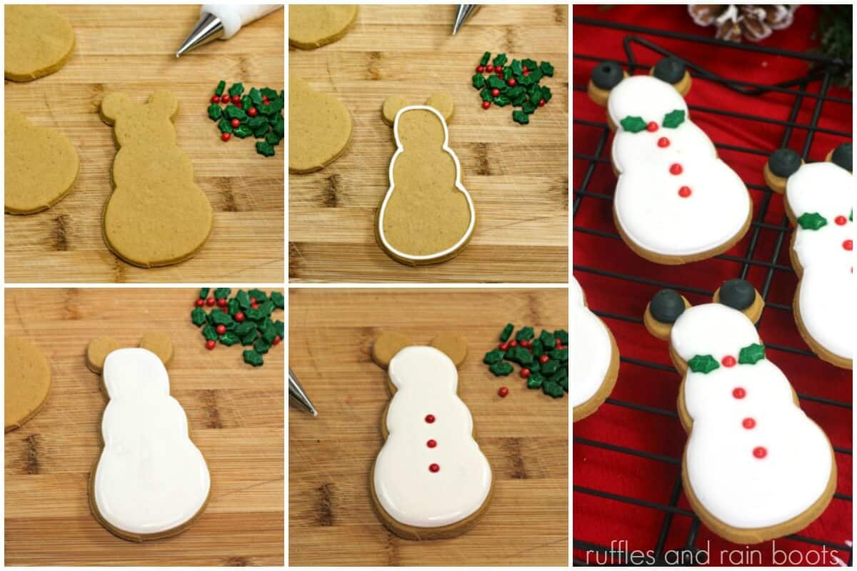 photo collage tutorial of easy gingerbread cookie recipe with Mickey snowman