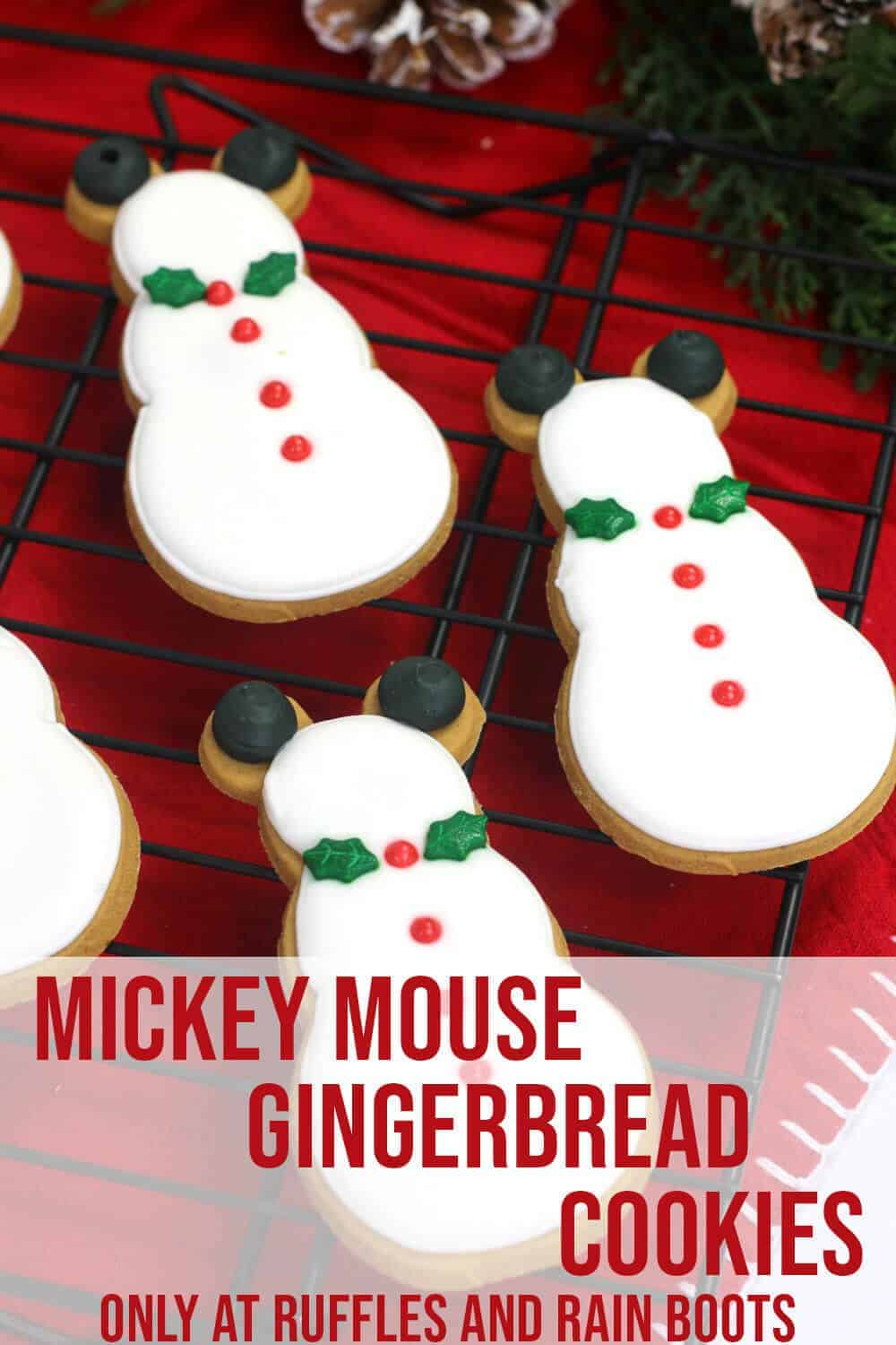 Easy Gingerbread Cookie Recipe for Cookie Cutters with text which reads mickey mouse gingerbread cookies