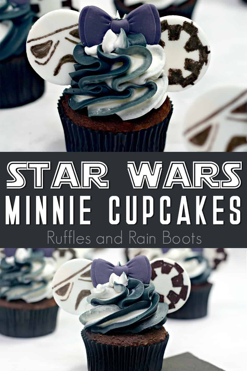photo collage of easy storm trooper cupcakes for a star wars party with text which reads star wars minnie cupcakes