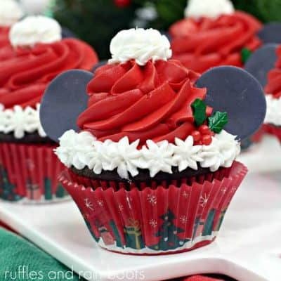 Fun Mickey Ears Santa Cupcakes are Perfect Christmas Cupcakes!