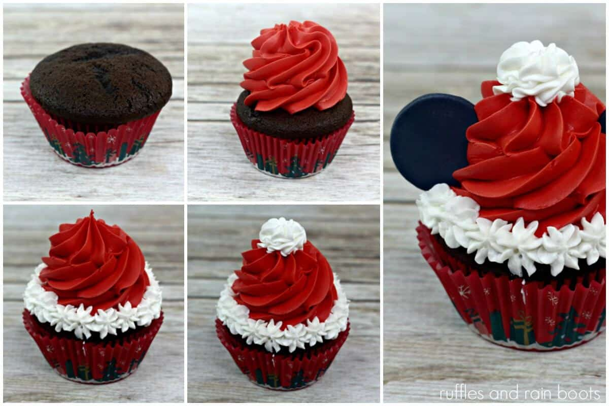 photo collage of how to make mickey mouse santa cupcakes for Disney Christmas