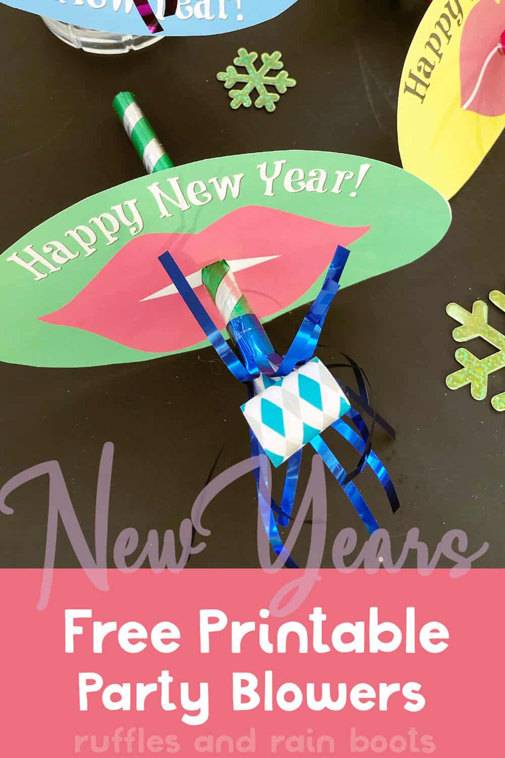 closeup of new years noise maker kids craft with text which reads new years free printable party blowers