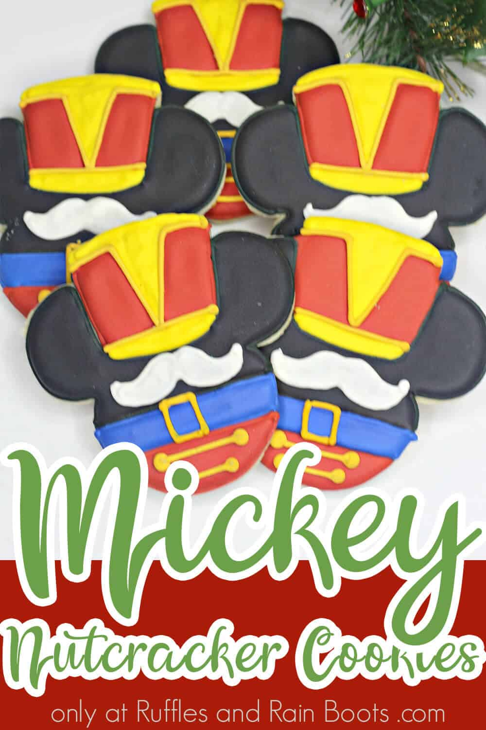 how to make christmas cookies with Mickey mouse nutcracker design with text which reads mickey flood cookies nutcracker