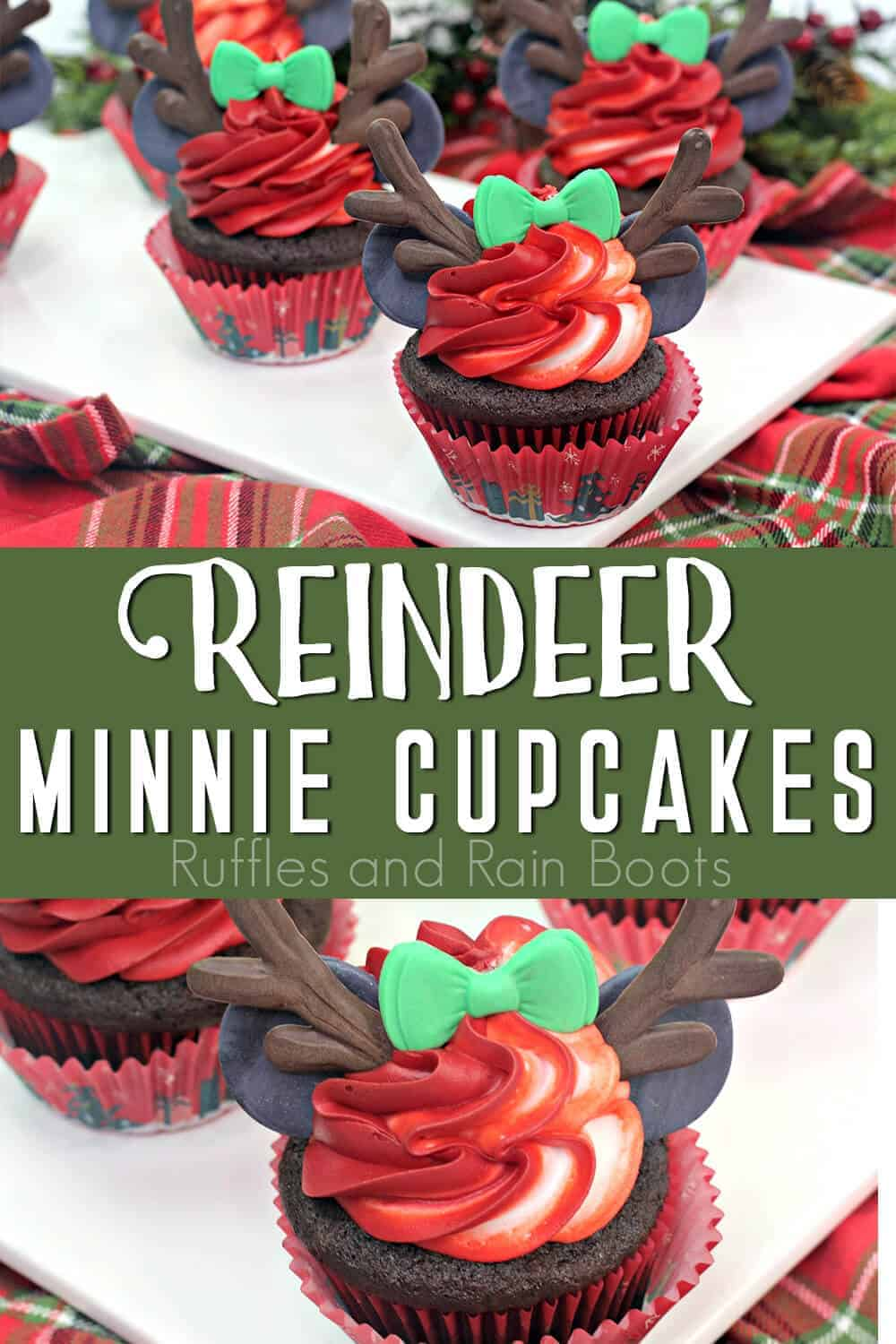 photo collage of holiday cupcakes with text which reads reindeer minnie cupcakes