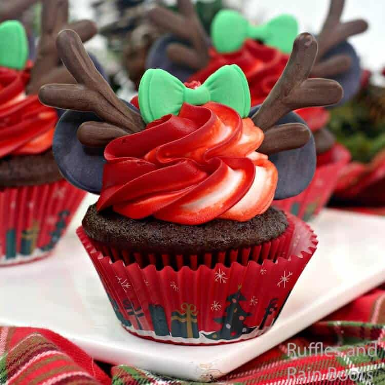 how to make reindeer cupcakes with minnie ears