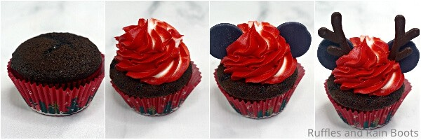 photo collage tutorial of how to make christmas minnie cupcakes for a party