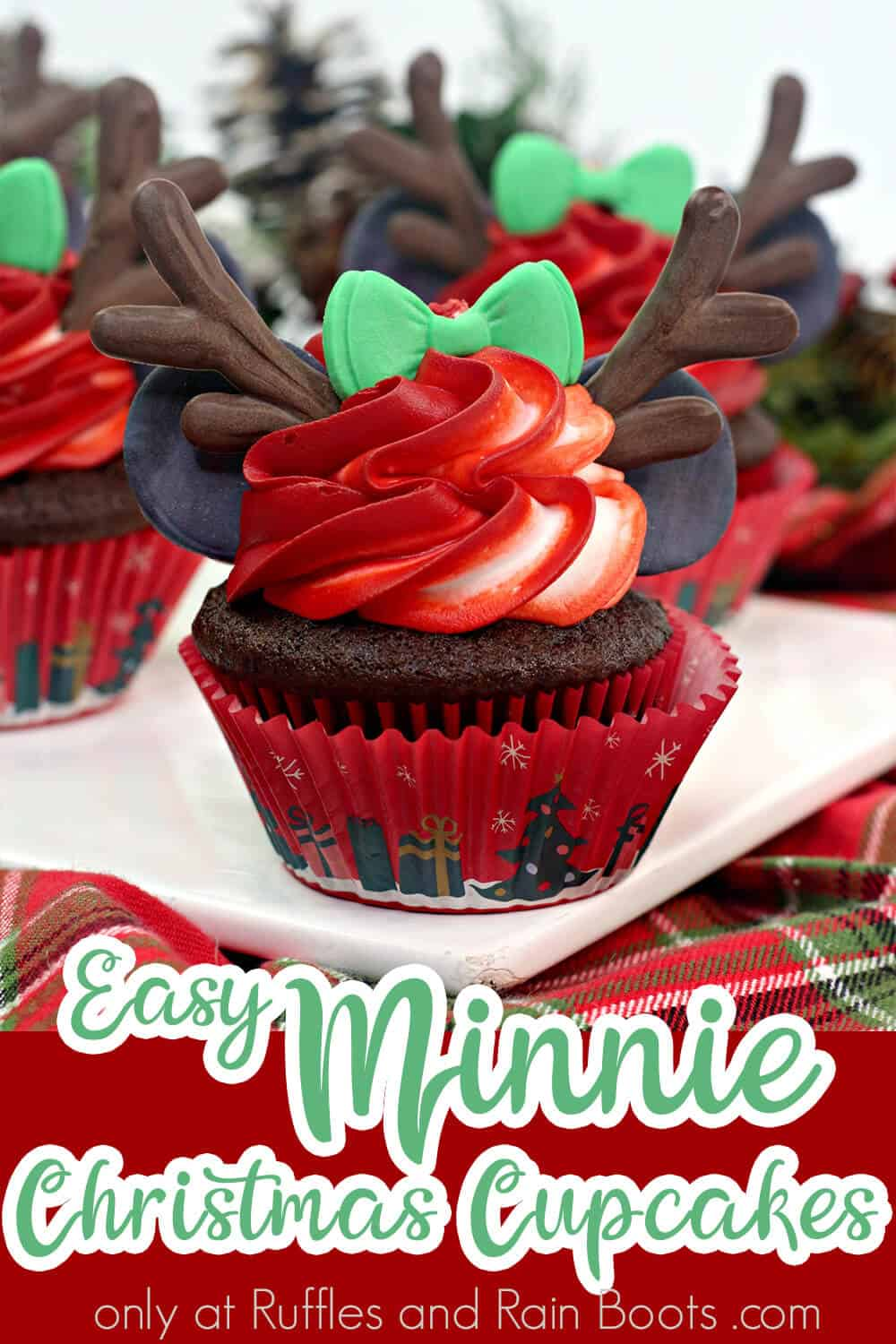 closeup of a christmas cupcake with text which reads easy minnie christmas cupcakes