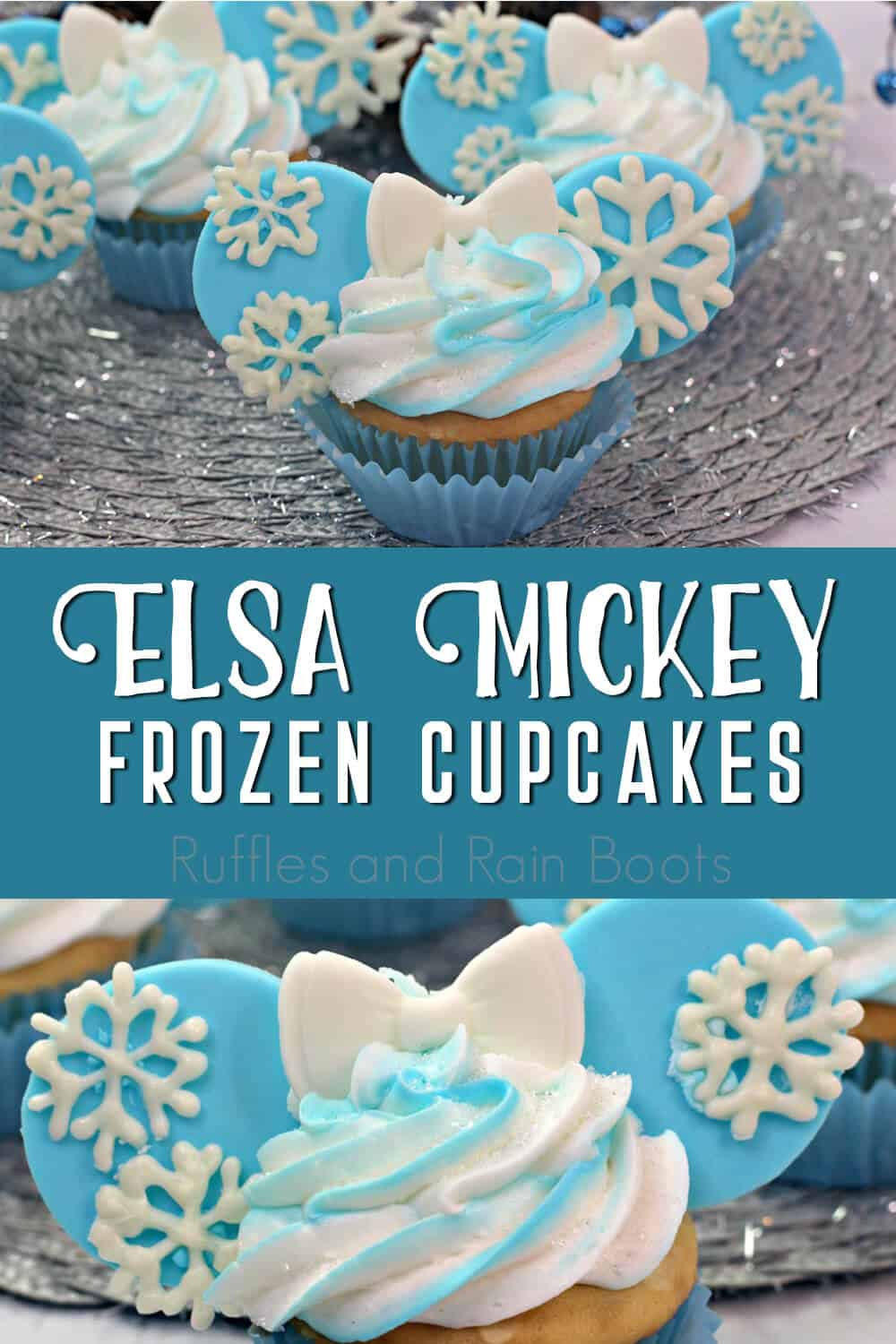 photo collage of frozen movie cupcakes with text which reads elsa mickey frozen cupcakes