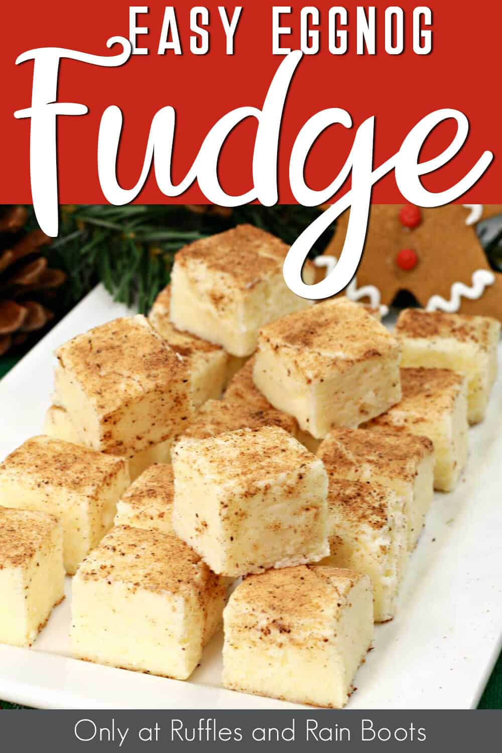 plate full of white chocolate fudge with text which reads easy eggnog fudge