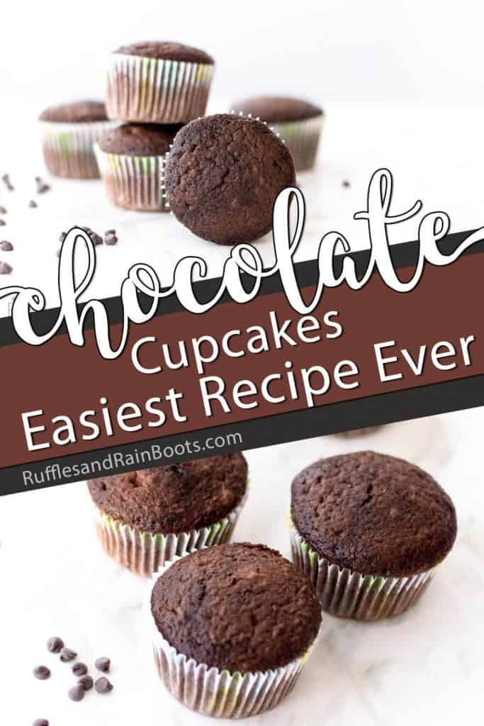 photo collage of lazy girl chocolate cupcakes with text which reads chocolate cupcakes easiest recipe ever