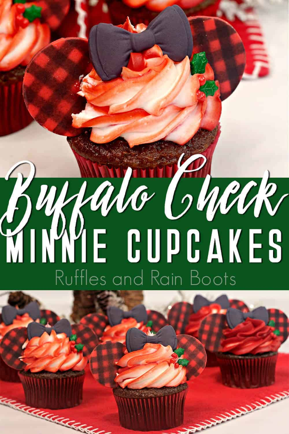 photo collage of christmas minnie mouse cupcakes with text which reads buffalo check minnie cupcakes