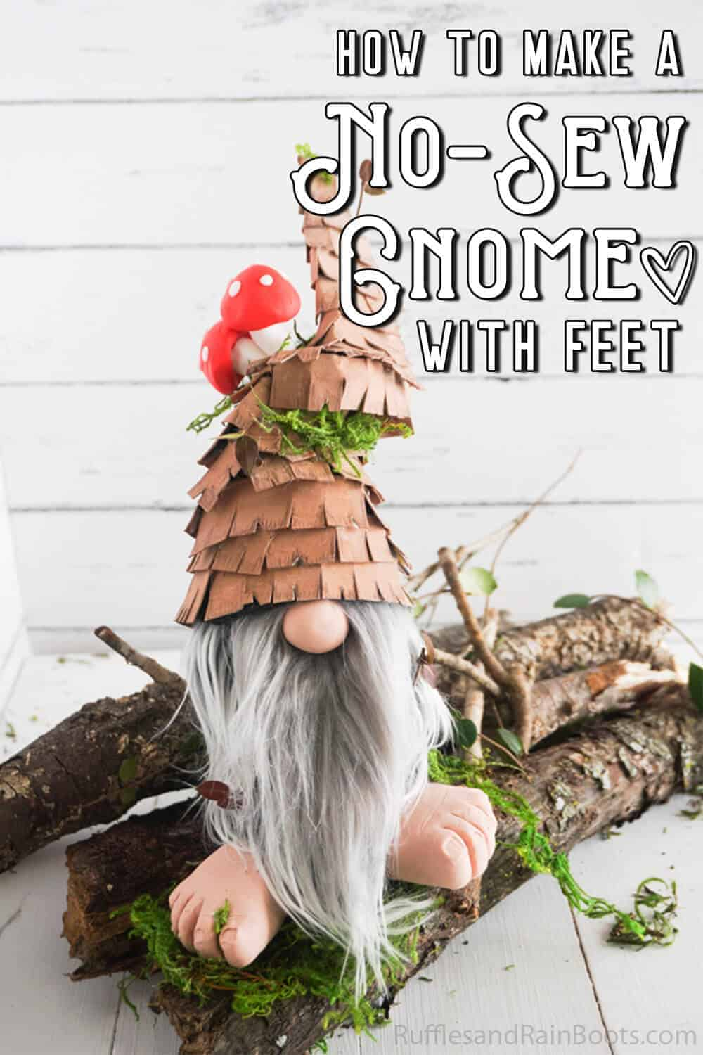 front view of gnome with feet and mushrooms with text which reads how to make a no-sew gnome with feet