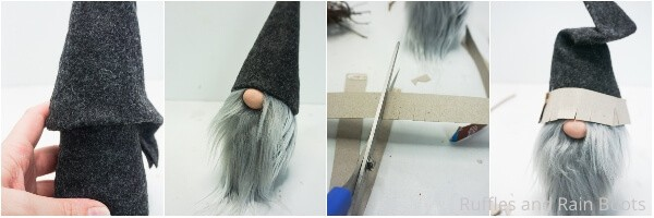photo collage tutorial of how to make a forest gnome with a tree hat