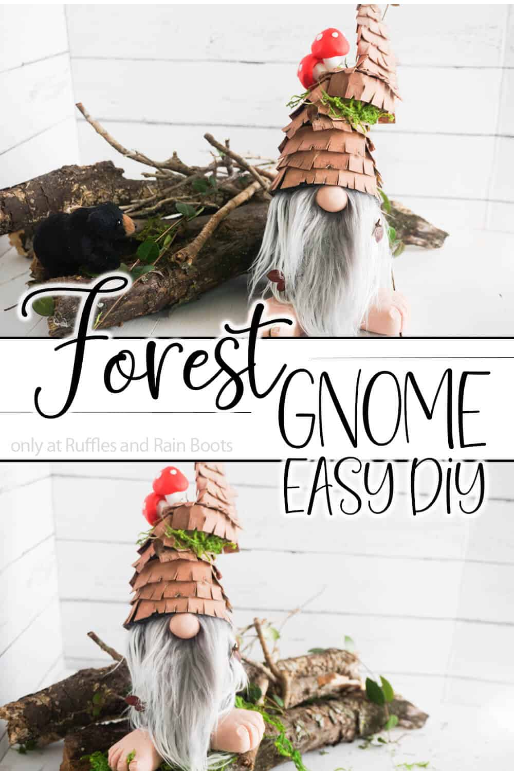 photo collage of a diy tontuu with text which reads forest gnome easy diy idea