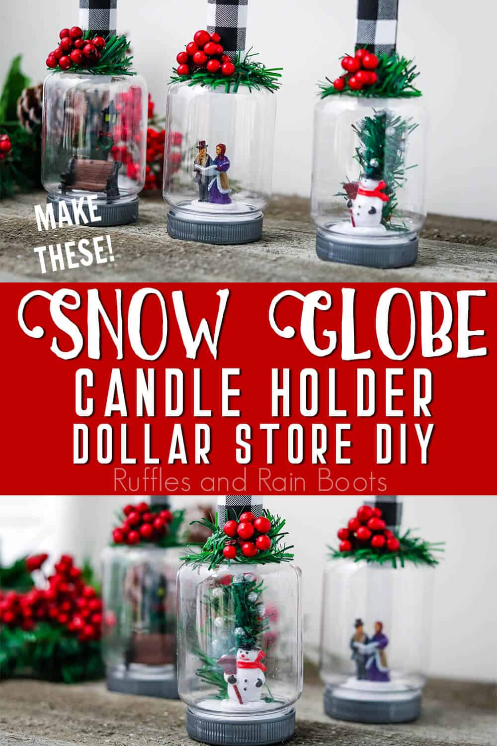 photo collage of easy dollar store craft for christmas with text which reads snow globe candle holder diy dollar store