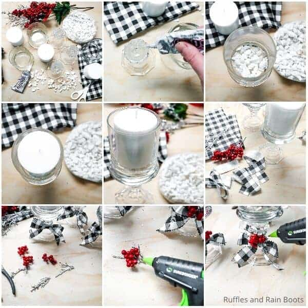 photo collage tutorial of how to make a pretty candle holder from a dollar store candle holder