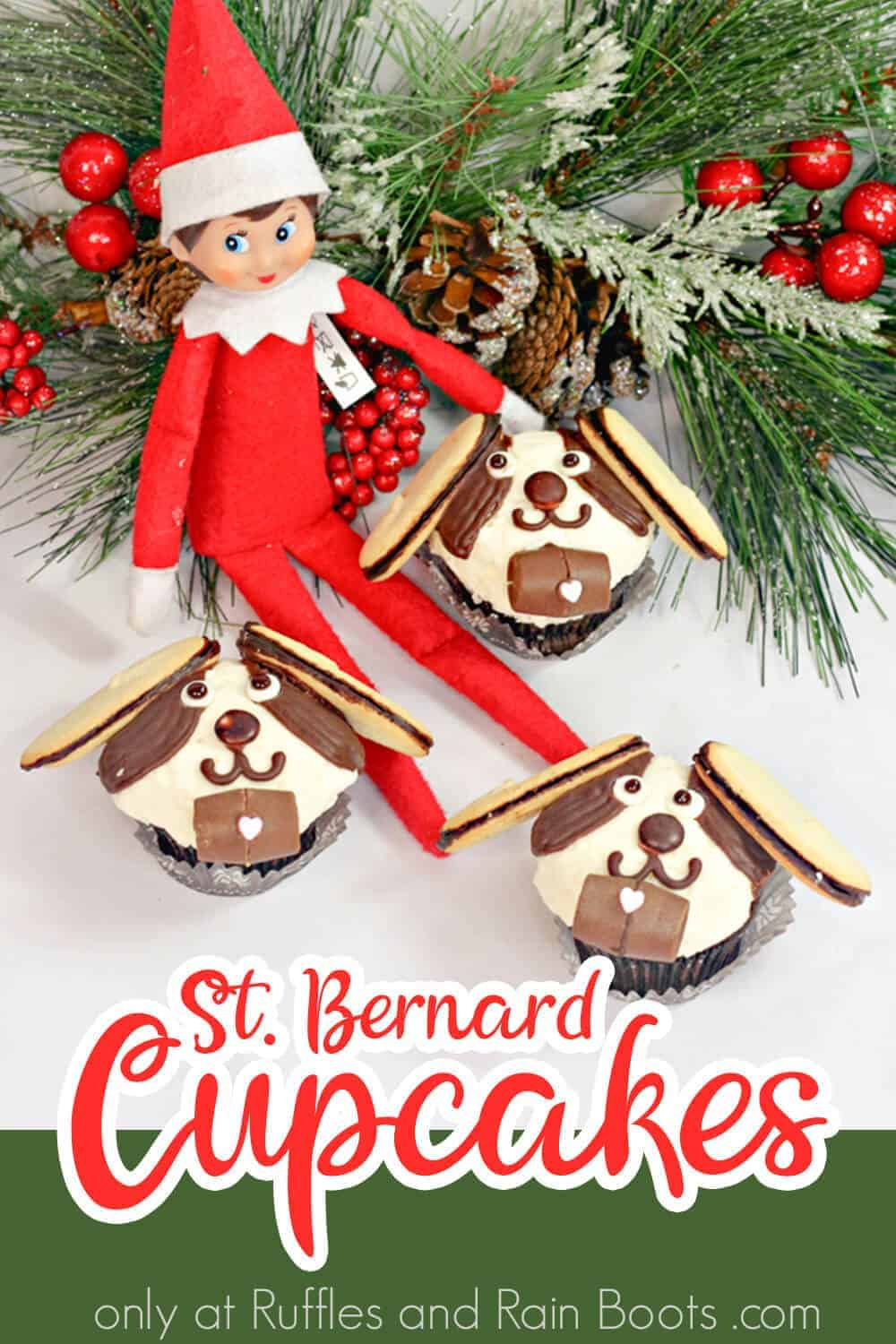three dog cupcakes with an elf on the shelf with text which reads st. bernard cupcakes