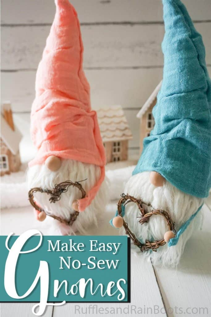 easy gnome pattern with text which reads make easy no-sew gnomes with this pattern