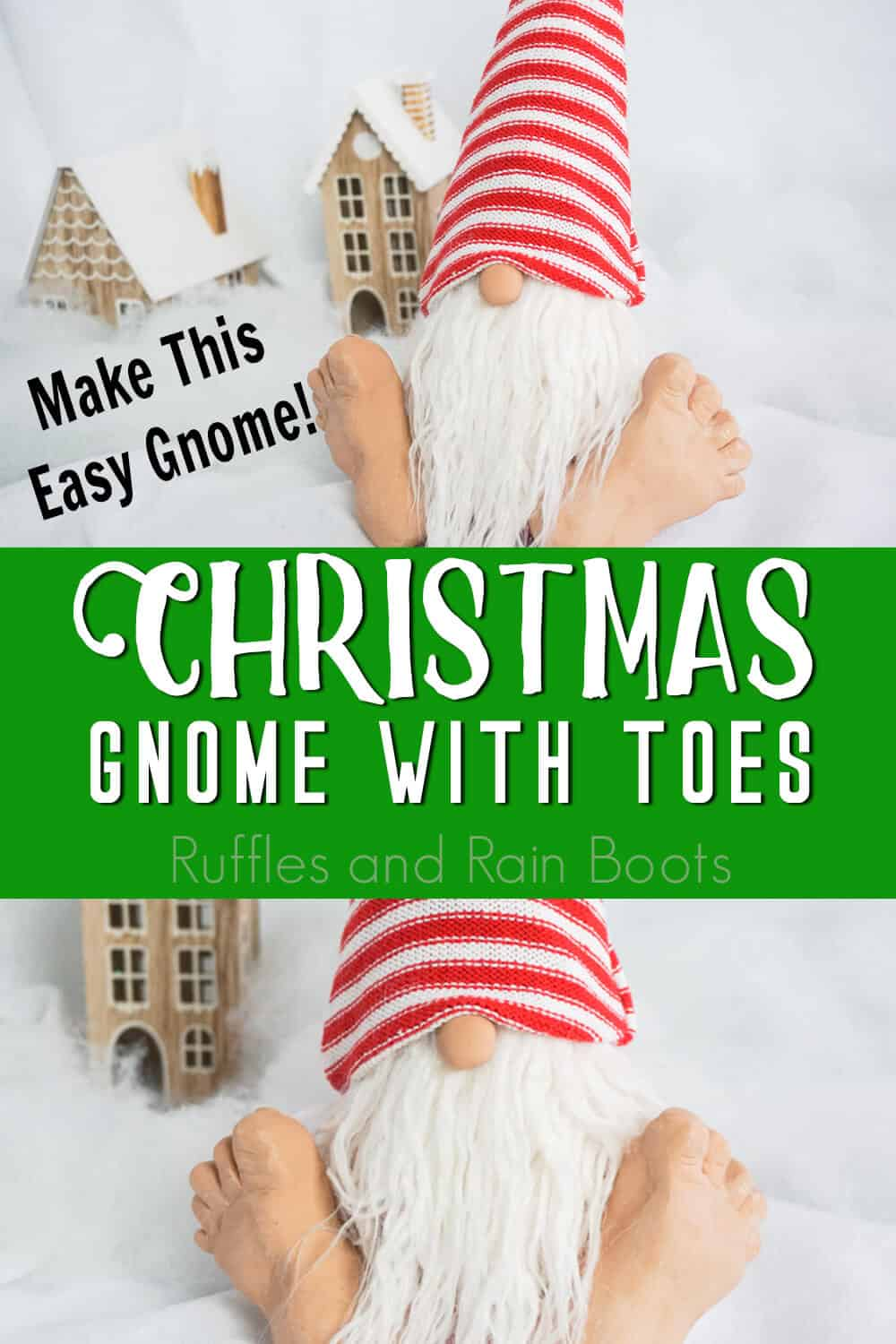photo collage of holiday gnome with text which reads make this easy gnome christmas gnome with toes