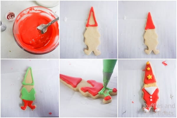 photo collage tutorial of how to make christmas gnome cookies for the holidays
