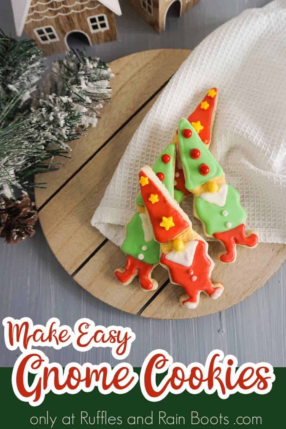 overhead view of iced christmas cookies of elves with text which reads make easy gnome cookies