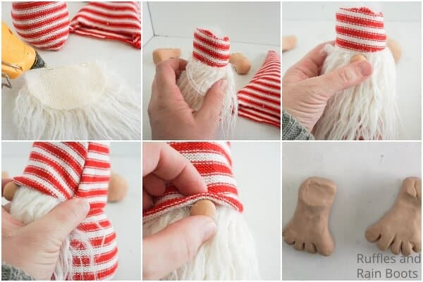 photo collage tutorial of how to make a gnome with feet