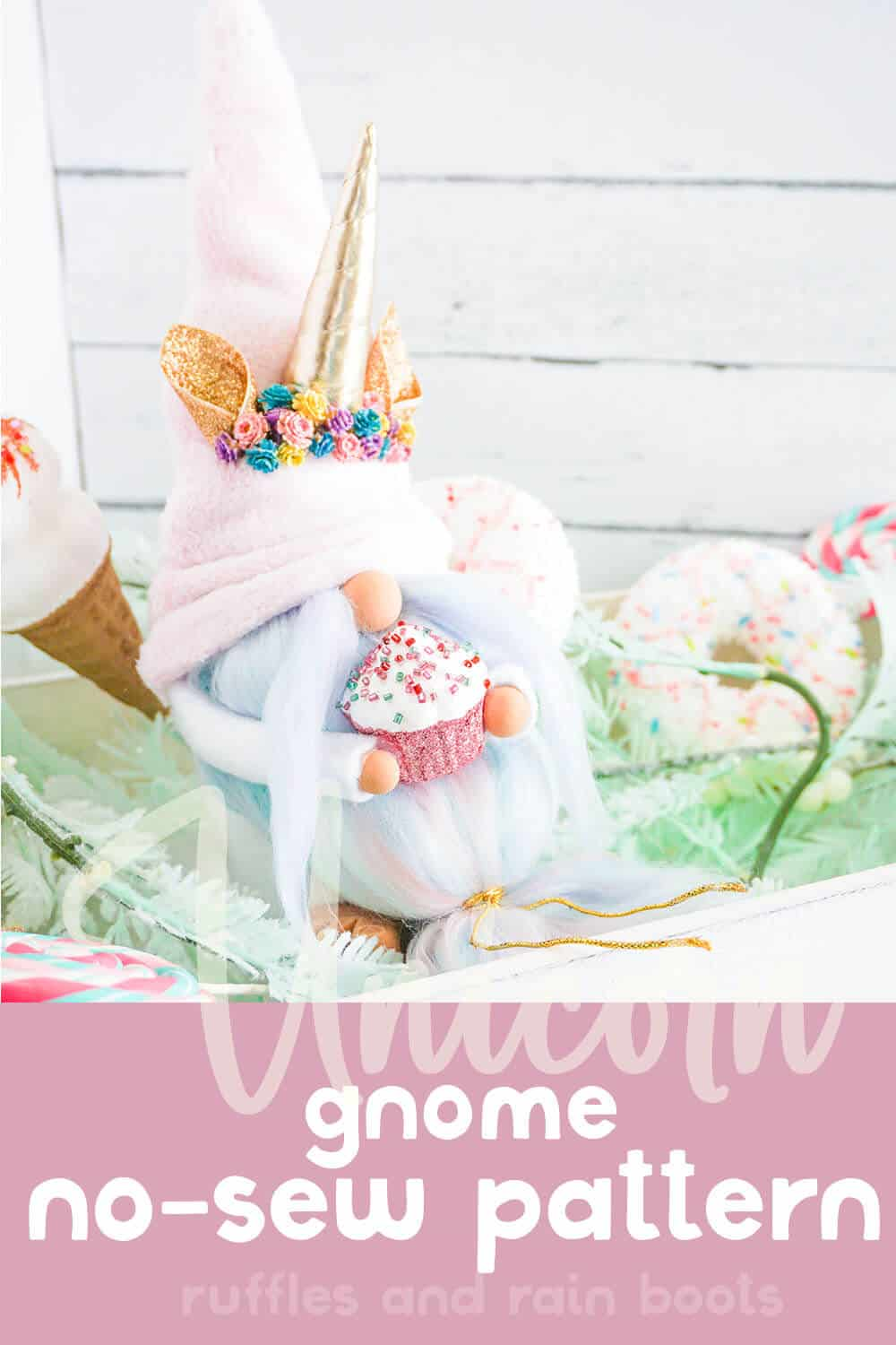 easy pattern for a spring gnome with a unicorn horn with text which reads unicorn gnome no-sew pattern