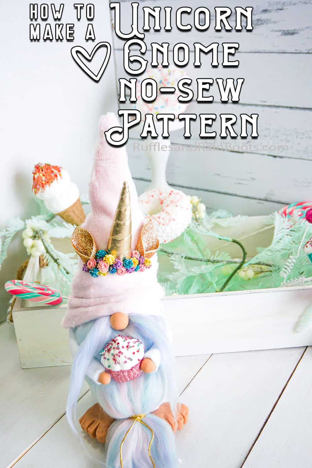 tomte nisse gnome pattern with a unicorn horn with text which reads how to make a unicorn gnome no-sew pattern