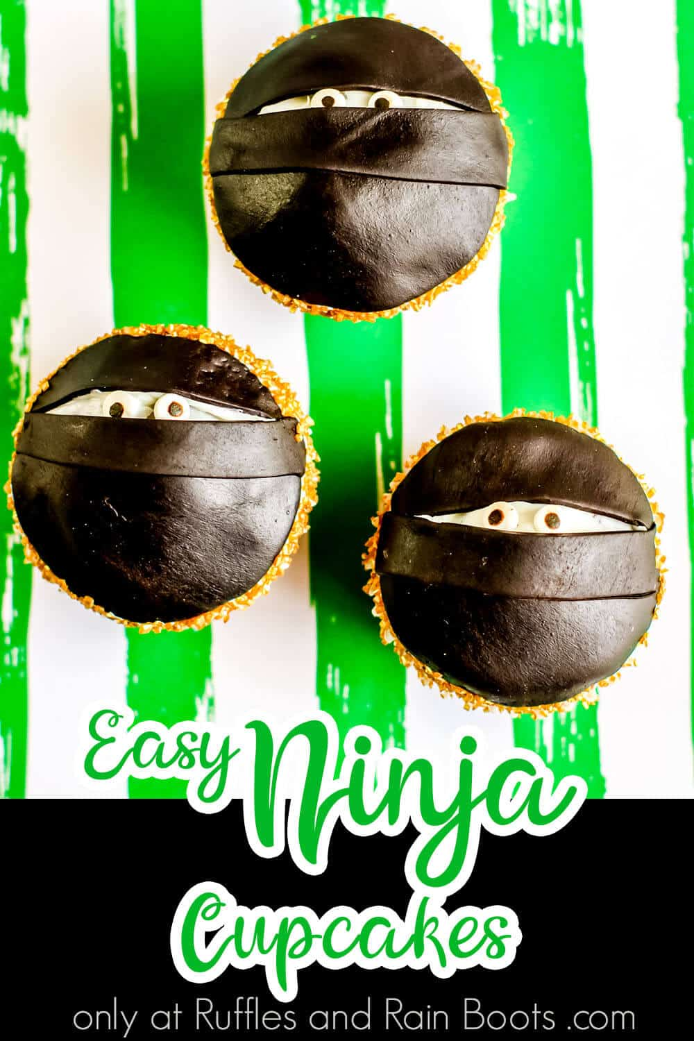 simple cupcake decorating idea with text which reads easy ninja cupcakes