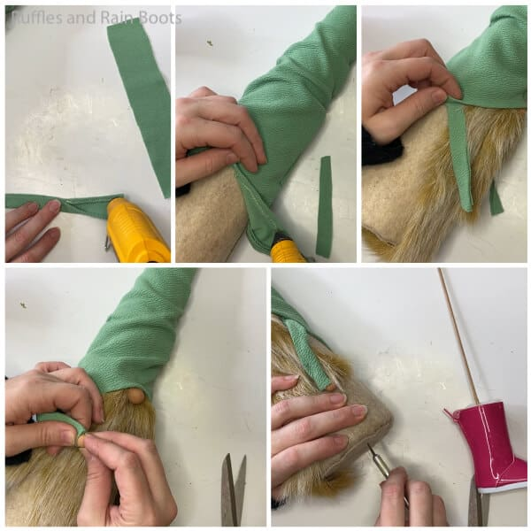 photo collage tutorial of how to make a spring gnome from a cone