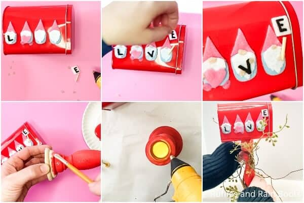 photo collage tutorial of how to make a gnome mailbox for valentines