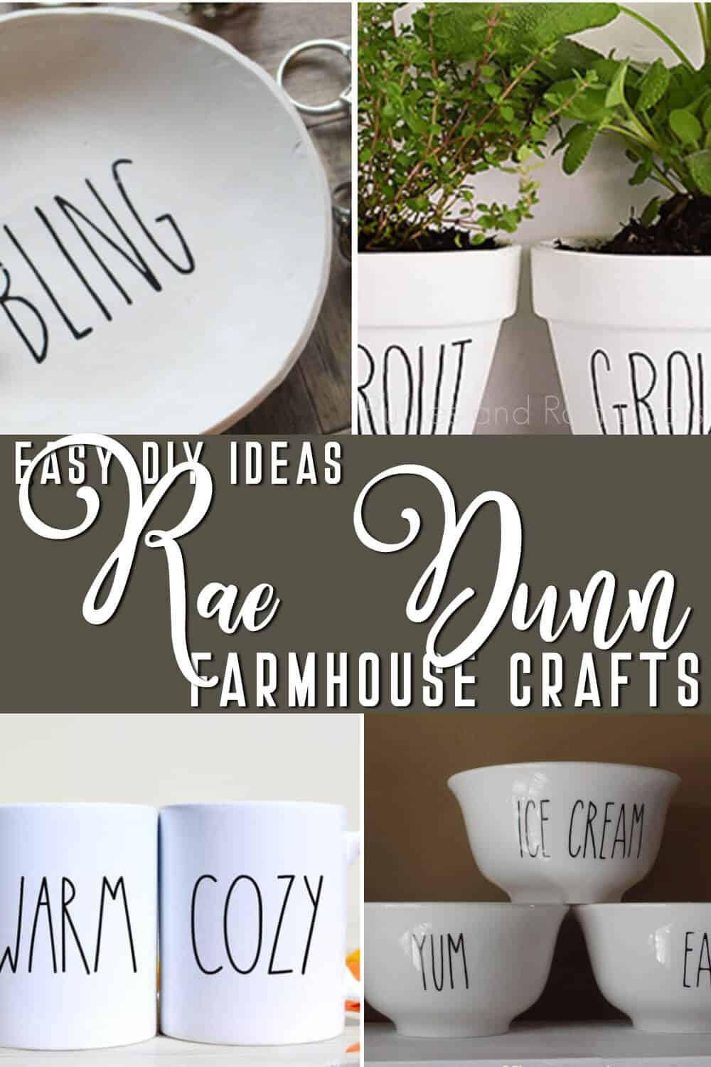 photo collage of easy rae dunn inspired diy crafts with text which reads easy diy rae dunn farmhouse craft ideas