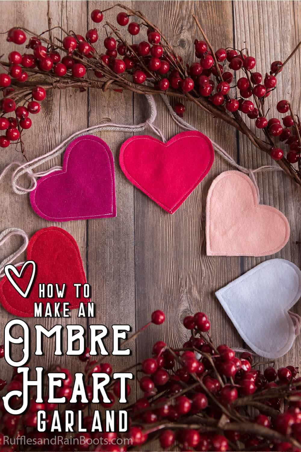 overhead view of valentine heart garland with text which reads how to make an ombre heart garland
