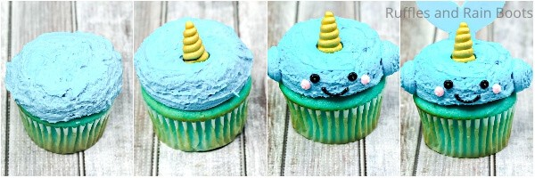 photo collage tutorial of how to make narwhal cupcakes