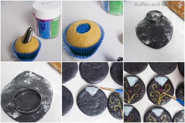 photo collage tutorial of how to make princess anna cupcakes with mickey ears